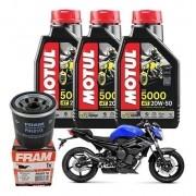 Kit Troca Óleo XJ6 Motul 5000 20w50 3 L + Filtro Fram