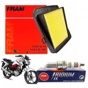 Vela Iridium Titan 150 Fan 150 2014 NGK + Filtro de Ar Fram