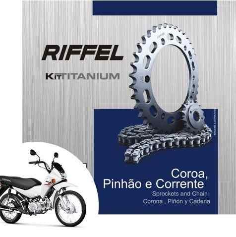 Kit Relação Transmissão Tração Pop 100 Riffel Aço 1045