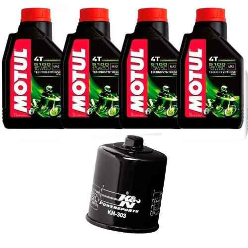 Kit Troca Oleo Filtro K N Z1000 Z800 Motul 5100 15w50 Kn-303