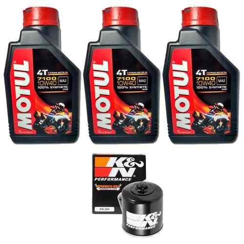 Kit Troca Oleo k&n KN K N Yamaha Mt-07 Mt07 Motul 7100 10w40