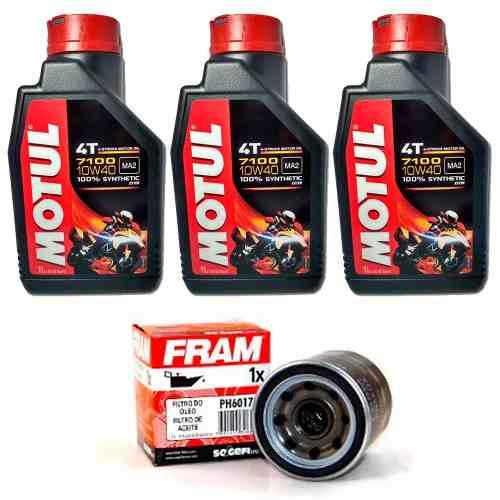 Kit Troca Oleo Fram Yamaha Mt-07 Mt07 Motul 7100 10w40