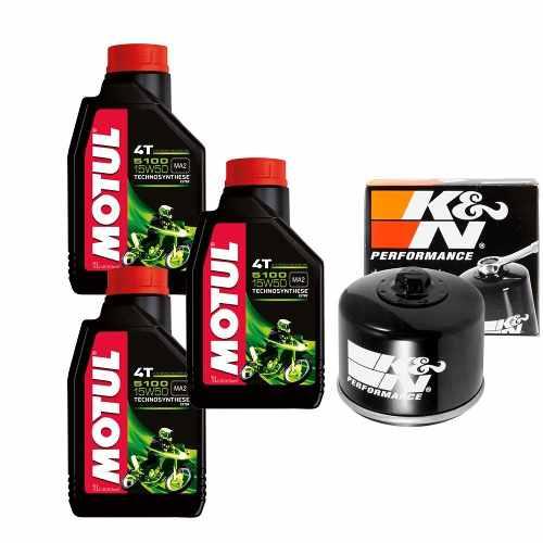 Kit Troca de Óleo + Filtro K&N Bmw F800 Gs Motul 5100 15w50 KN-160