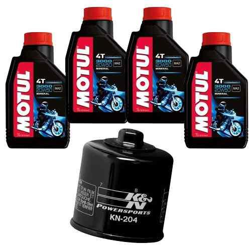 Kit Troca Oleo + Filtro K N Kn 204 Xj6 Motul 3000 20w50