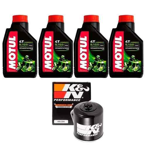 Kit Troca Oleo + Filtro K N Hornet 600 Cbr 600f Motul 5100 15w50
