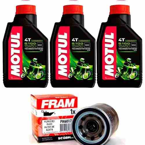 Kit Troca Oleo Filtro Fram Hornet 600 Cbr 600f Motul 5100 15w50