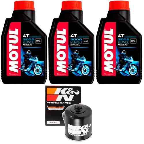Kit Troca Oleo + Filtro K N K&N Hornet 600 Cbr 600f Motul 3000 20w50