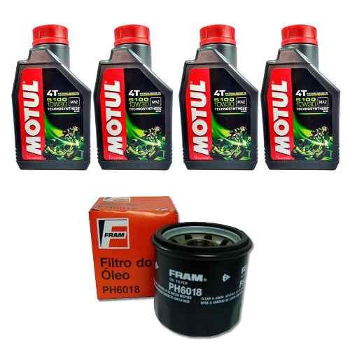 Kit Troca Oleo Motul 5100 10w30 4 Litros + Filtro Fram Ph6018