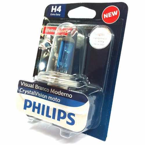 Lampada Philips Crystal Vision Motos H4 35/35w Super Branca