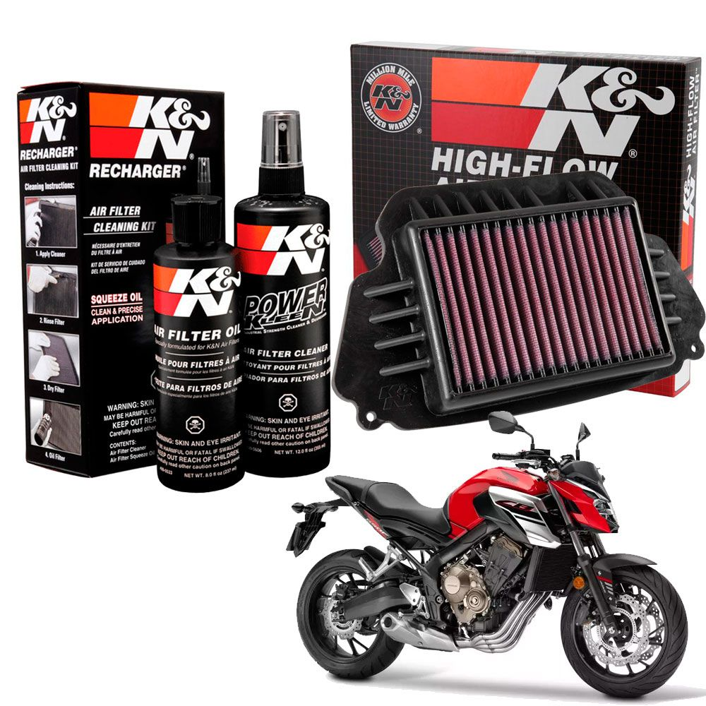 Filtro Ar K&n CB 650F CB650F 650 F Esportivo + Kit Limpeza