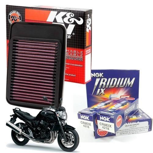 Filtro de Ar K&N Bandit 650 2005-2007 + Velas Iridium CR8EIX