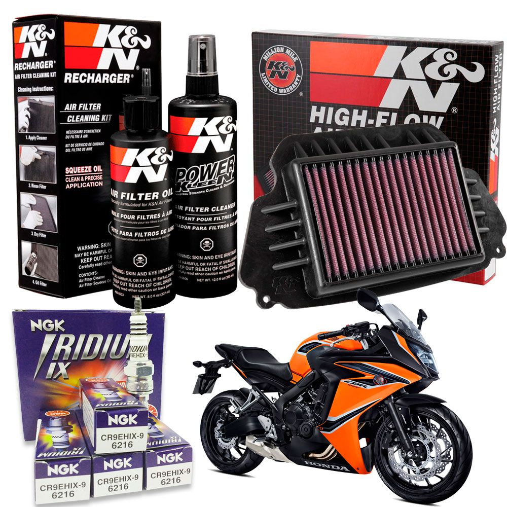 Filtro de Ar K&N CBR 650F CBR650F Vela Iridium Kit Limpeza