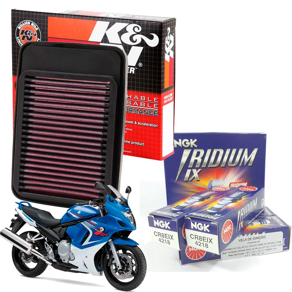 Filtro de Ar K&N GSX 650F GSX650F 650 F + Velas Iridium CR8EIX