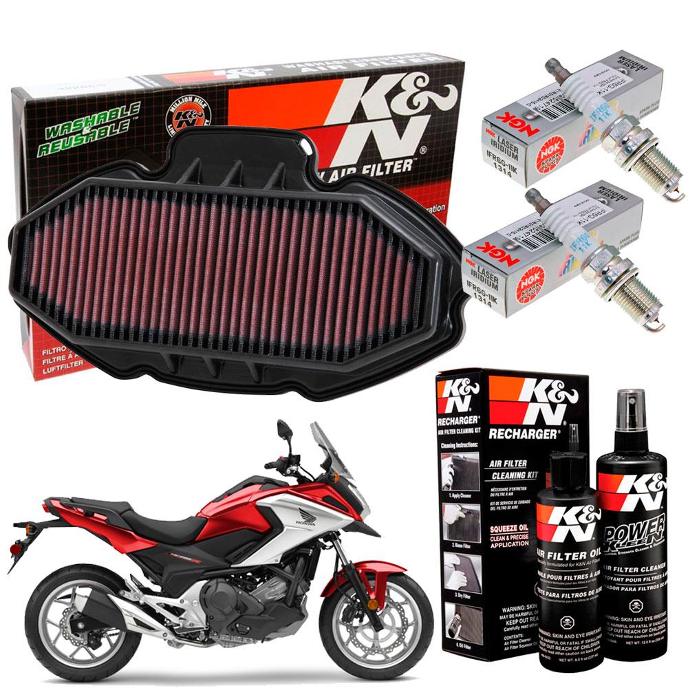 Filtro de Ar K&N NC700X NC 700X 700 Vela iridium Kit Limpeza