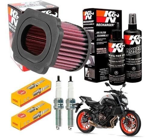 Filtro K&N MT-07 MT07 + Velas NGK lmar8a-9 + Kit de Limpeza