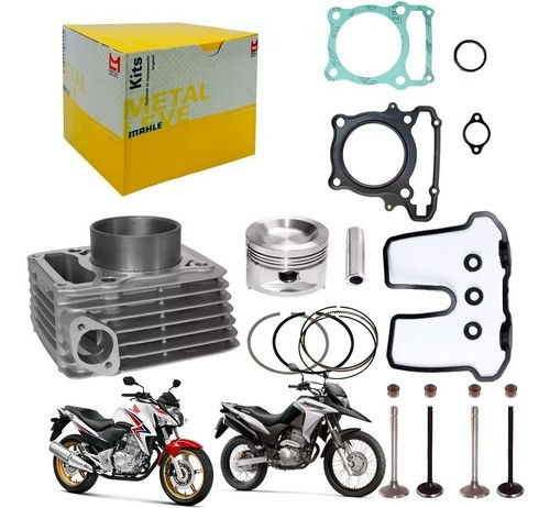 Kit Cilindro Xre 300 CB 300 Metal Leve + Valvula Junta Honda
