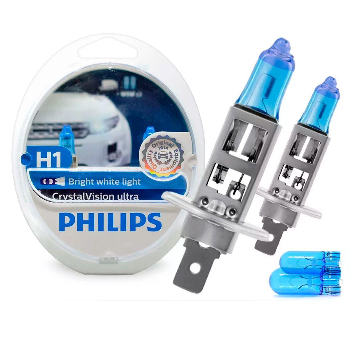 Kit Lâmpada Philips Super Branca Crystal Vision H1 4100k 55w