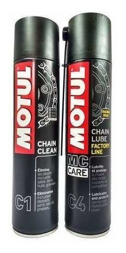 Kit Lubrificante Corrente Motul Chain Lube C4 + Clean C1
