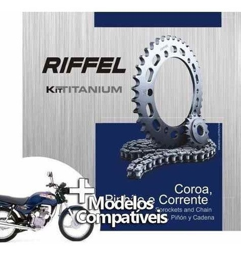 Kit Relação Transmissão Tração Cg Titan 1999 / Today Riffel Aço 1045