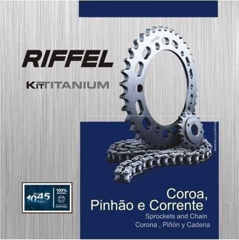 Kit Relação Transmissão Tração Fan Titan 125 2000 até 2008 Riffel Aço 1045