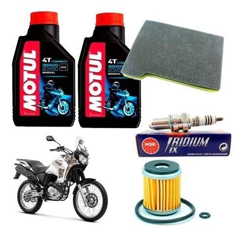 Kit Revisão Tenere 250 até 2015 Filtro Óleo Motul 20W50 Vela Iridium