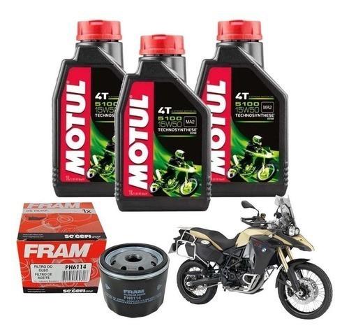 Kit Troca Óleo + Filtro Fram Bmw F800 Gs Motul 5100 15w50