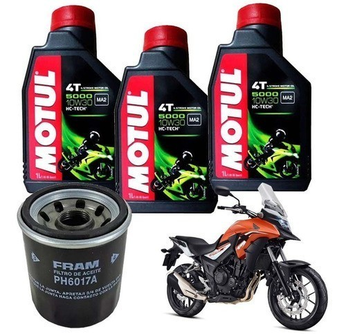 Kit Troca Oleo Filtro Fram Honda Cb 500 X Motul 5000 10w30