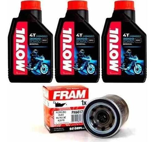 Kit Troca Oleo + Filtro Fram Hornet 600 Cbr 600f Motul 3000 20w50