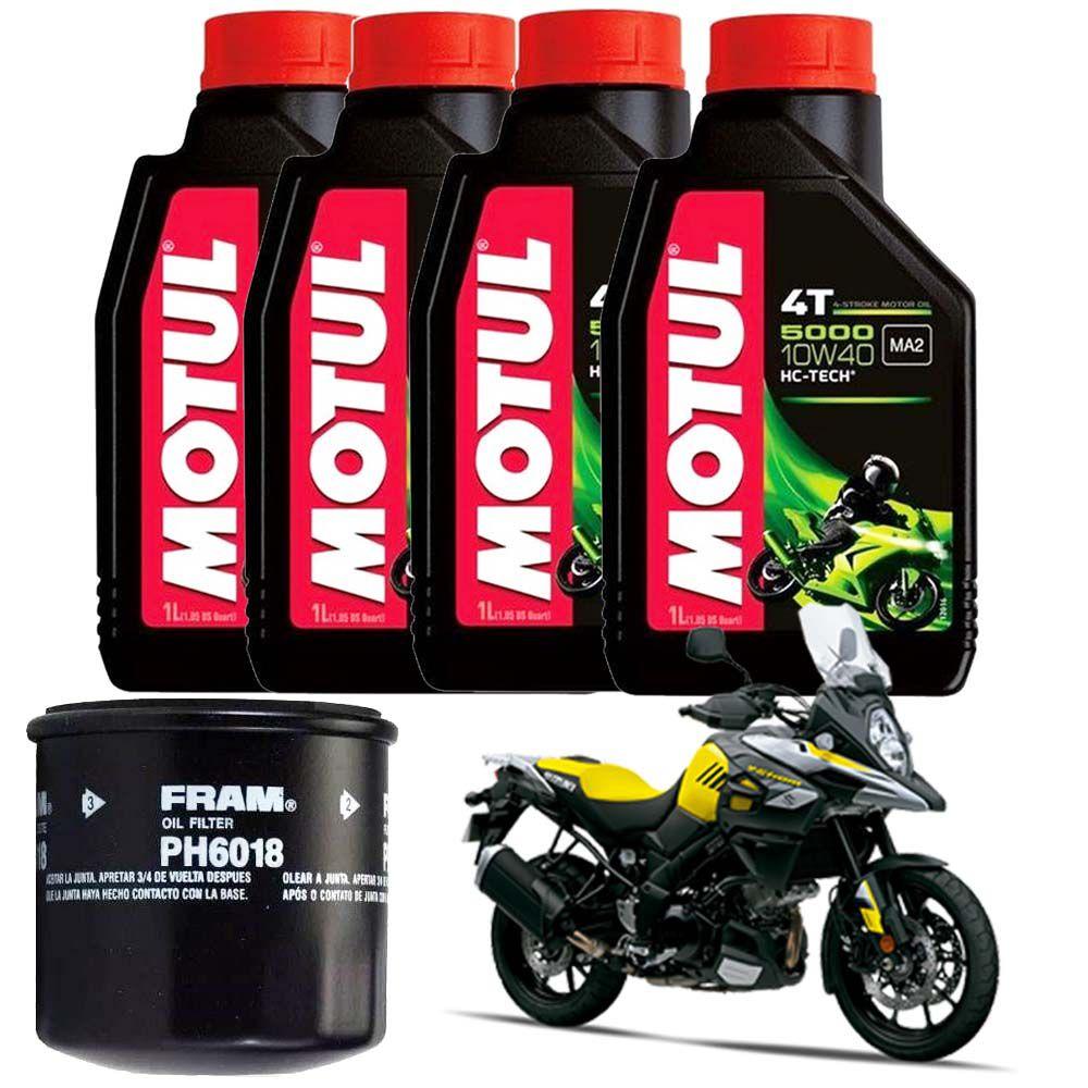 Kit Troca Oleo Filtro Fram Motul 5000 10w40 Suzuki V Strom 1000