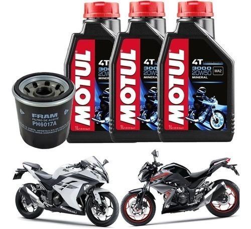 Kit Troca Oleo Filtro Fram Ninja 300 Z300 Motul 3000 20w50