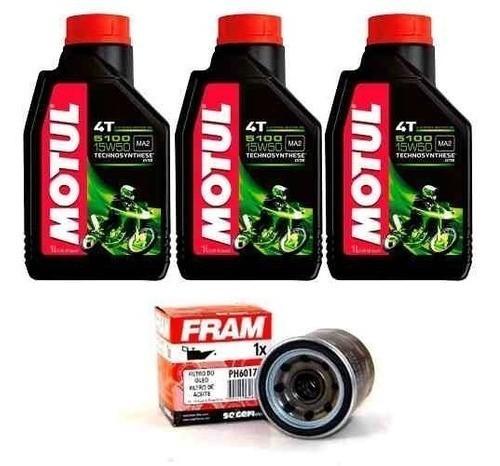 Kit Troca Oleo + Filtro Fram Ninja 300 Z300 Motul 5100 15w50
