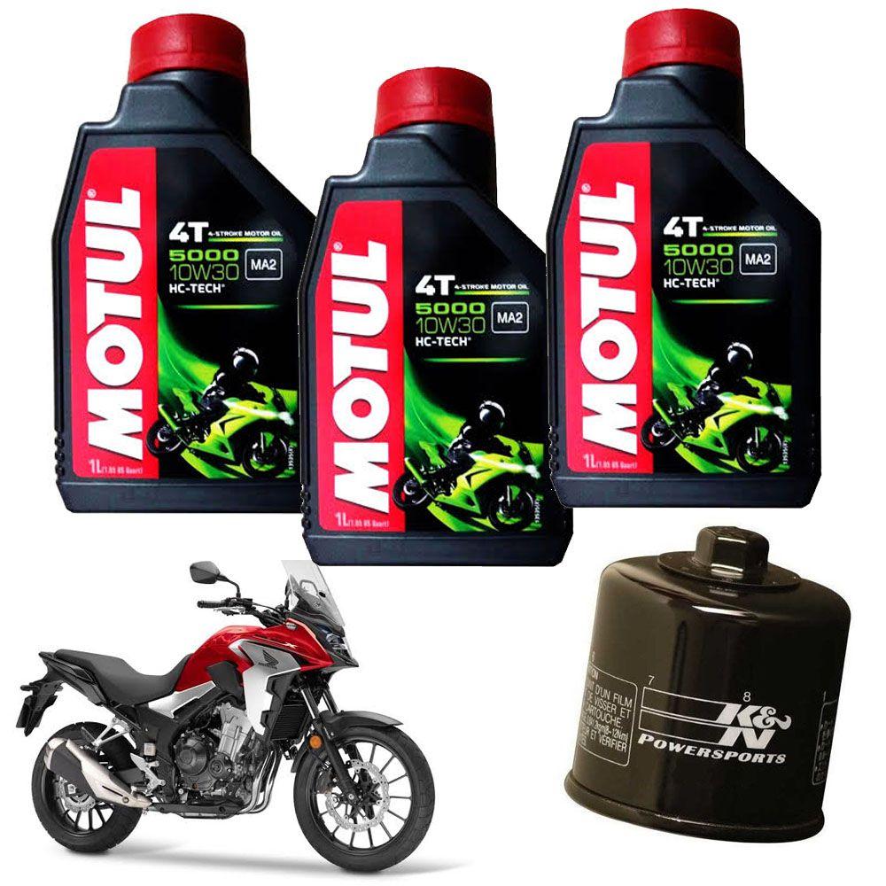 Kit Troca Oleo Filtro K N Honda Cb 500 X/f Motul 5000 10w30