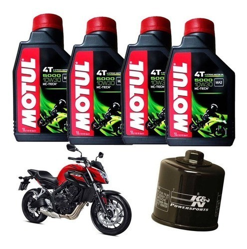 Kit Troca Oleo Filtro K N Honda Cb 650f Motul 5000 10w30 Kn