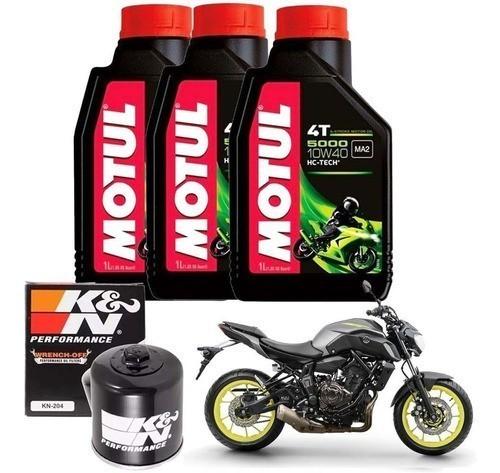 Kit Troca Oleo K N Kn204 Yamaha Mt07 Motul 5000 10w40