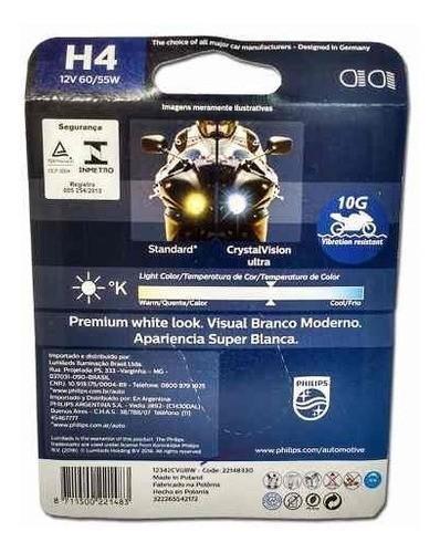 Lâmpada Philips Crystal Vision H4 Moto 60/55W Super Branca
