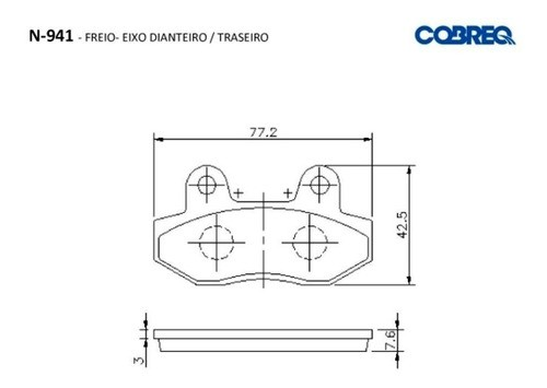 Pastilha de Freio Comet 250 650 Dianteiro ou Traseiro Cobreq