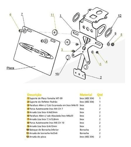 Suporte Placa Eliminador Rabeta Yamaha MT-07 MT07 Oxxy