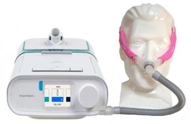 KIT CPAP DREAMSTATION AUTO BIVOLT + UMIDIFICADOR + MÁSCARA SWIFT FX FOR HER