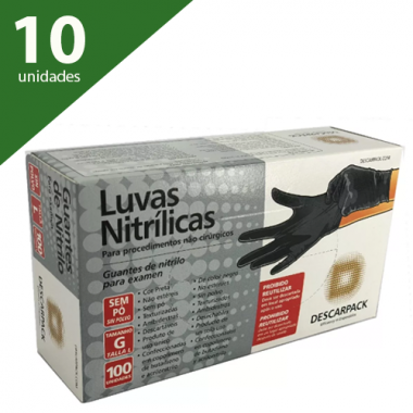 LUVA DE PROCEDIMENTO NITRÍLICA PRETA M (KIT C/1000) - DESCARPACK
