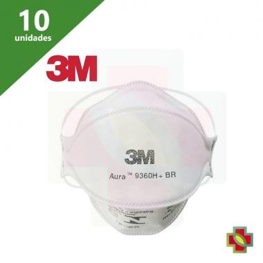 MÁSCARA DE PROTECAO N95 AURA 9360H+BR BRANCA (KIT C/10) - 3M
