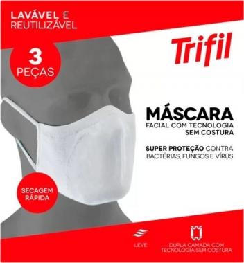 MÁSCARA TECIDO LAVÁVEL DUPLA BRANCA (C/03 UNDS) TRIFIL