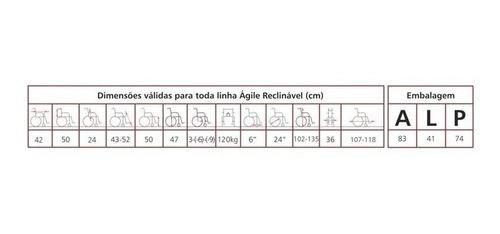 CADEIRA DE RODAS ALUMÍNIO ÁGILE 40 CM PRETA - BAXMANN