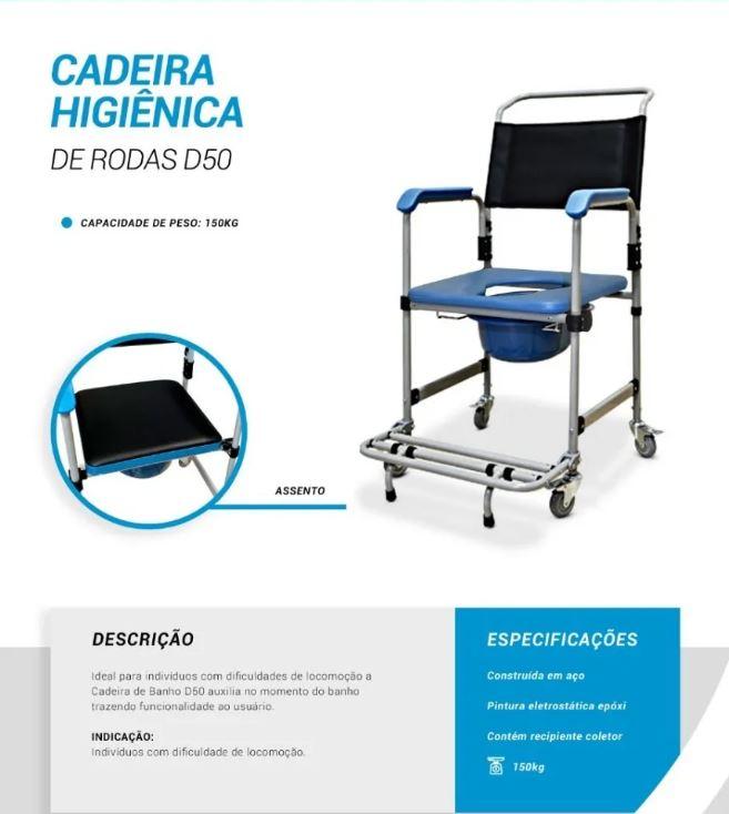 CADEIRA HIGIÊNICA D50 AÇO FIXA 150 KG 48CM - DELLAMED