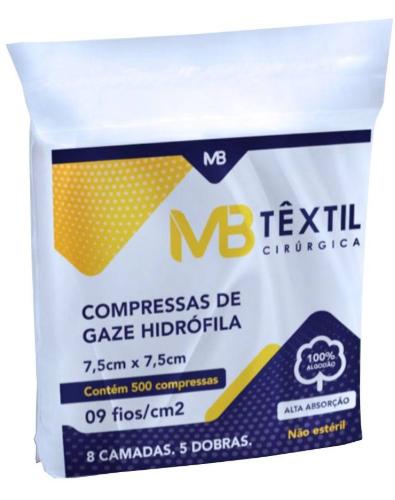 COMPRESSA GAZE 7,5X7,5 C/ 500 09F (LIRIO) MBTEXTIL