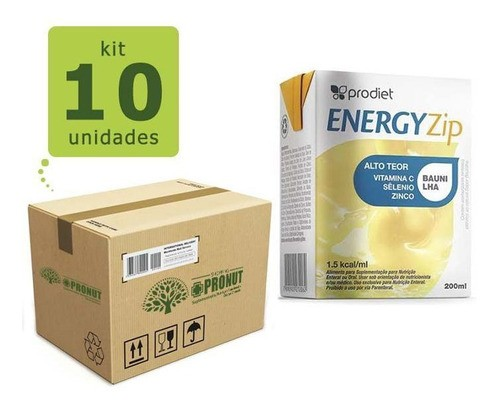 Kit com 10 Energyzip 200 ml ( Baunilha) - Prodiet
