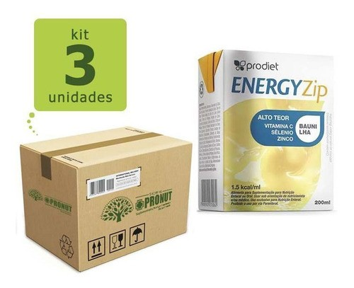 Kit com 3 Energyzip 200 ml ( Baunilha) - Prodiet