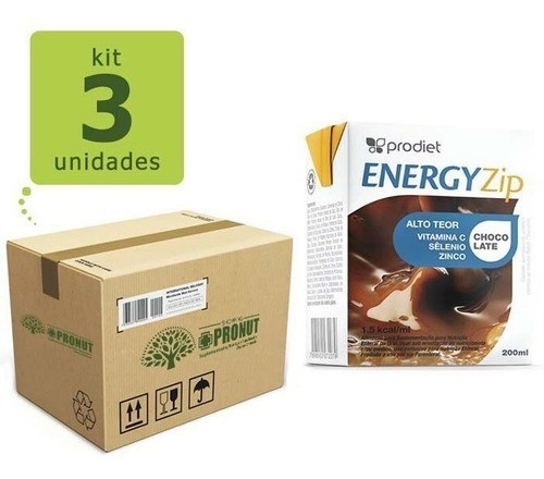 Kit com 3 Energyzip 200 ml ( Chocolate) - Prodiet