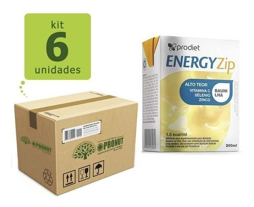 Kit com 6 Energyzip 200 ml ( Baunilha) - Prodiet