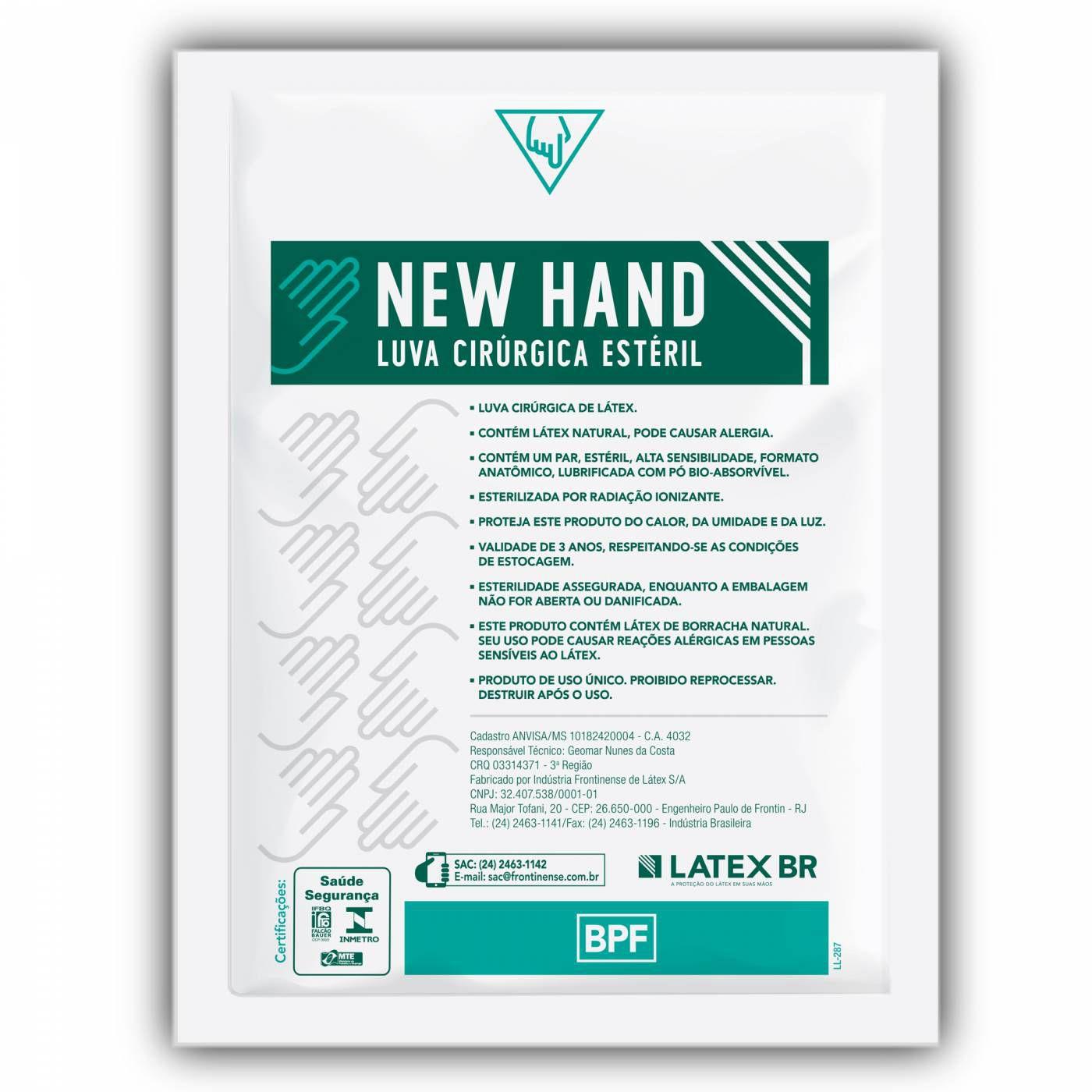 LUVA CIRÚRGICA ESTÉRIL LÁTEX (CX C/50 PARES) - NEW HAND