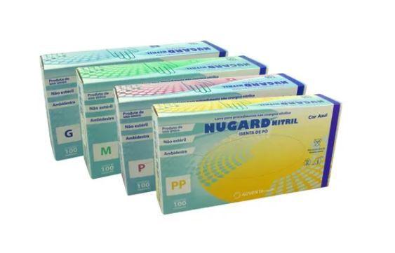 LUVA DE PROCEDIMENTO NITRÍLICA AZUL S/PÓ (CX C/100 UND) - NUGARD